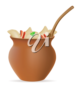 dumplings vareniki of dough with a filling and greens in clay pot vector illustration isolated on white background