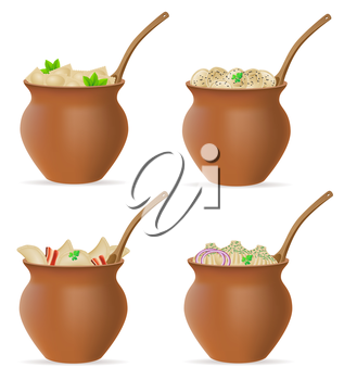dumplings of dough with a filling and greens in clay pot set icons vector illustration isolated on white background