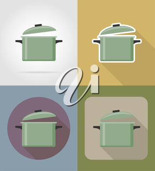 saucepan objects and equipment for the food vector illustration isolated on background