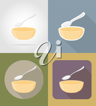 soup plate with spoon objects and equipment for the food vector illustration isolated on background