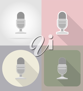 old retro microphone flat icons vector illustration isolated on background