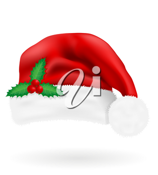 christmas red hat santa claus vector illustration isolated on white background