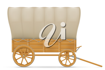 wooden wagon of the wild west with an awning vector illustration isolated on white background