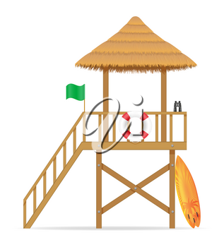 beach lifeguard tower to save drowning people vector illustration isolated on white background