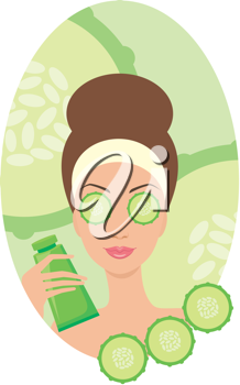 Royalty Free Clipart Image of a Woman Giving Herself a Cucumber Facial