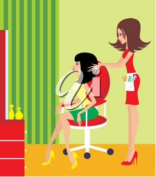 Royalty Free Clipart Image of a Woman Having Her Hair Done
