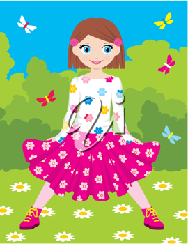 Royalty Free Clipart Image of a Girl in a Park