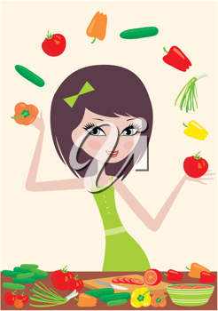 Royalty Free Clipart Image of a Girl Juggling Food