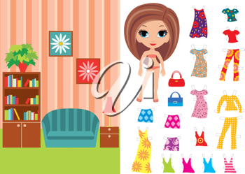 Royalty Free Clipart Image of a Paper Doll With Clothes and a Living Room