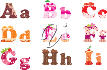 Royalty Free Clipart Image of Sweet Alphabet Letters