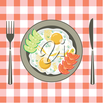 Royalty Free Clipart Image of Fried Eggs on a Plate