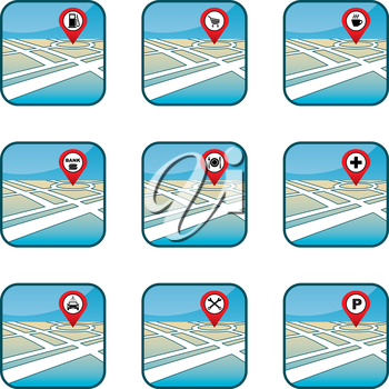 City map with GPS icons. vector, gradient, EPS10