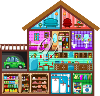 Sectional image of a house with interior elements. Vector illustration