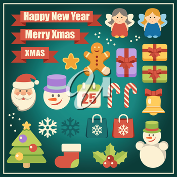 Image of the vector christmas set with santa, snowman and gifts