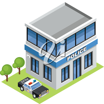 Image isometric police, standing on the grass.Vector illustration