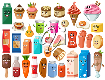 Funny cartoon products with face on the white background. Vector illustration