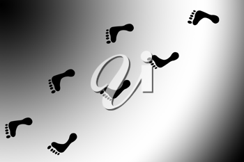 Royalty Free Clipart Image of a Footprint Background