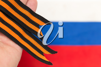 St. George ribbon and Russian flag