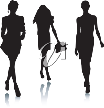Royalty Free Clipart Image of Three Female Silhouettes