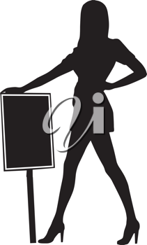 Royalty Free Clipart Image of a Woman With a Sign Board