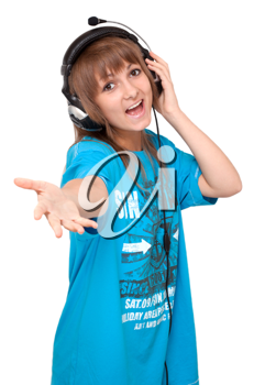 Royalty Free Photo of a Woman Wearing Headphones