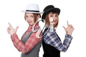 Royalty Free Photo of Two Girls With Painted Mustaches