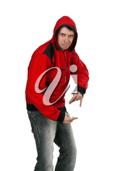 Royalty Free Photo of a Man Wearing a Red Sweater