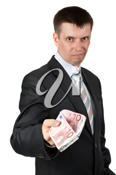 Royalty Free Photo of a Businessman Holding Euros