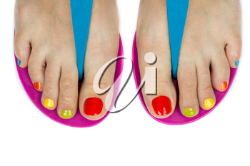 Beautiful female feet with a pedicure color. Isolated on white background