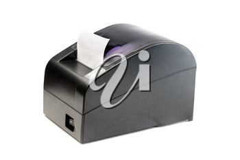 Modern printer checks for Point Of Sales systems. Isolate on white.