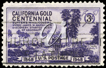 Royalty Free Photo of 1948 US Stamp of Sutter's Mill, Coloma, Centenary of Discovery Of Gold in California