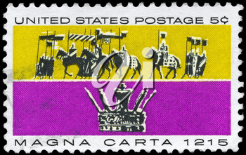 Royalty Free Photo of 1965 US Stamp Devoted to 750th Anniversary of the Magna Carta, the Basis of English and American Common Law