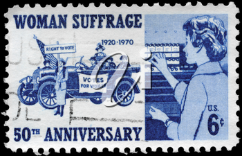 Royalty Free Photo of 1970 US Stamp Devoted to 50th Anniversary of the 19th Amendment