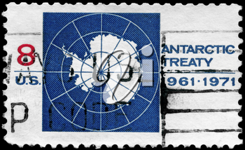 Royalty Free Photo of 1971 US Stamp Shows the Map of Antarctica Devoted to 10th Anniversary of the Antarctic Treaty