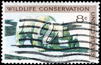 Royalty Free Photo of 1971 US Stamp Shows the Polar Bear and Cubs, Wildlife Conservation