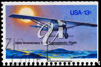 Royalty Free Photo of 1977 US Stmap Shows Charles Lindbergh's Solo Transatlantic Flight From NY to Paris, 50th Anniversary