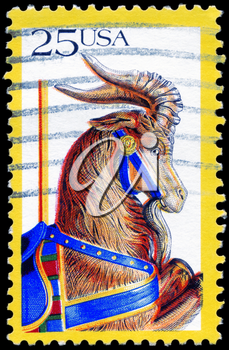 Royalty Free Photo of 1988 US Stamp Shows the Goat, Carousel Animals, Folk Art