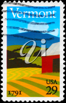 Royalty Free Photo of 1991 US Stamp Shows the Landscape, Vermont Statehood Bicentennial
