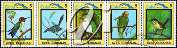 CUBA - CIRCA 1983: A Stamp sheet printed in CUBA shows images of a Birds from the series Cuban Birds, circa 1983