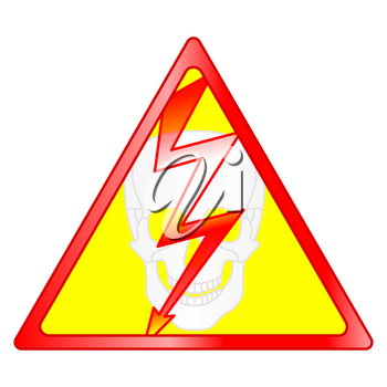 Illustration of the abstract hazard symbol with lightning and skull