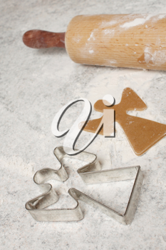 Royalty Free Photo of a Cookie Cutter and a Rolling Pin