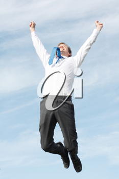 Royalty Free Photo of a Jumping Businessman
