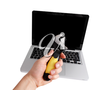 Royalty Free Photo of a Person Fixing a Laptop