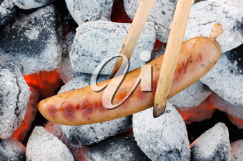 Royalty Free Photo of a Sausage Being Barbecued