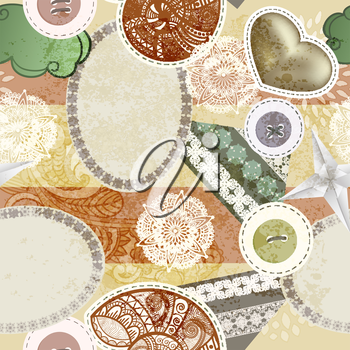 Royalty Free Clipart Image of a Scrapbooking Background of Buttons, a Heart and Shells