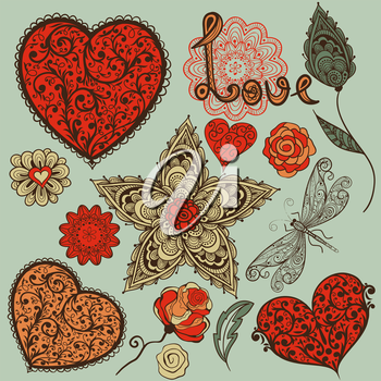 Royalty Free Clipart Image of a Background of Hearts