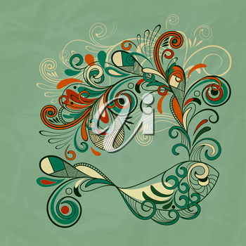 Royalty Free Clipart Image of a Fish and Flowers