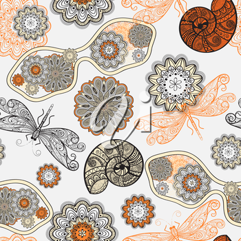 Royalty Free Clipart Image of a Background of Flowers, Dragonflies and Sunglasses
