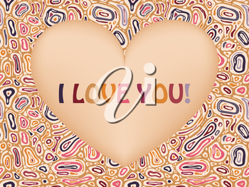 Royalty Free Clipart Image of an Abstract Background With I Love You in a Heart