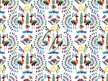 Vector Seamless Mexican Otomi Style Bright  Pattern with Peacocks